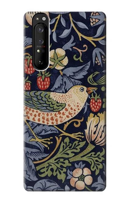 S3791 ウィリアムモリスストロベリーシーフ生地 William Morris Strawberry Thief Fabric Sony Xperia 1 III バックケース、フリップケース・カバー