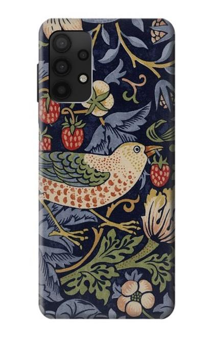 S3791 ウィリアムモリスストロベリーシーフ生地 William Morris Strawberry Thief Fabric Samsung Galaxy A32 4G バックケース、フリップケース・カバー
