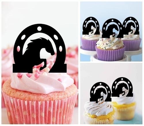 TA0379 ホースシューの中に馬 Horse Inside Horseshoe アクリル製 カップケーキトッパー ケーキトッパー ケーキスティック 結婚式 誕生日 パーティー 装飾用品 アクセサリー 10本
