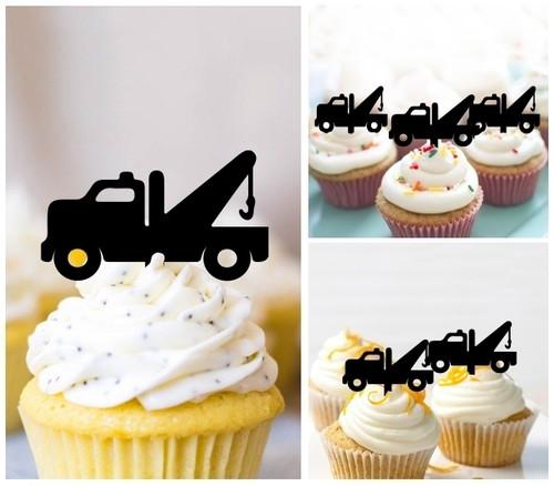 TA0856 牽引車 Tow Truck アクリル製 カップケーキトッパー ケーキトッパー ケーキスティック 結婚式 誕生日 パーティー 装飾用品 アクセサリー 10本