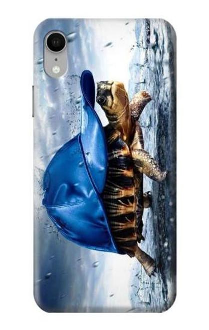 S0084 雨でかめ Turtle in the Rain iPhone XR バックケース、フリップケース・カバー