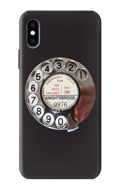 S0059 レトロなダイヤル式の電話ダイヤル Retro Rotary Phone Dial On iPhone X, iPhone XS バックケース、フリップケース・カバー