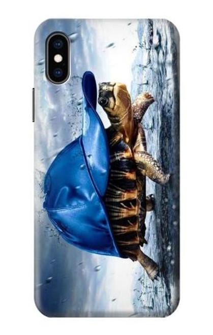 S0084 雨でかめ Turtle in the Rain iPhone X, iPhone XS バックケース、フリップケース・カバー