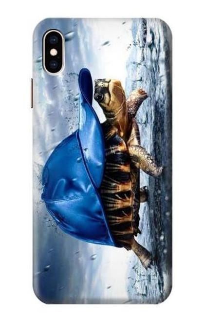 S0084 雨でかめ Turtle in the Rain iPhone XS Max バックケース、フリップケース・カバー