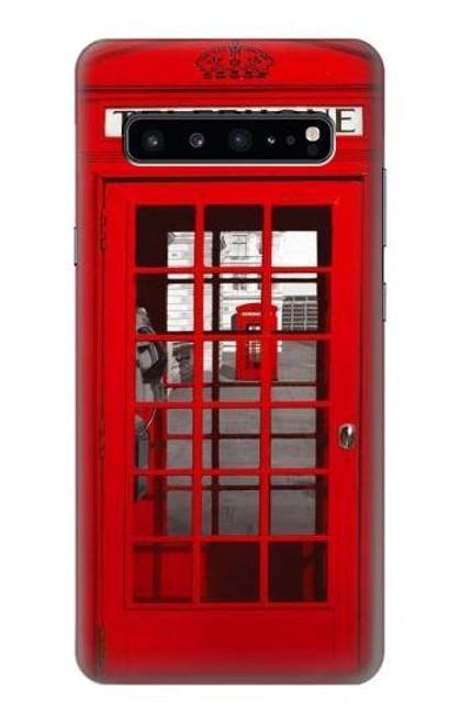 S0058 ロンドン〔イギリス〕の赤い電話ボックス Classic British Red Telephone Box Samsung Galaxy S10 5G バックケース、フリップケース・カバー