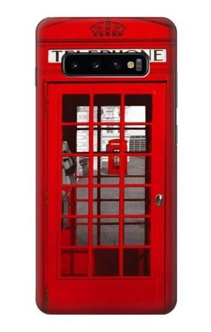 S0058 ロンドン〔イギリス〕の赤い電話ボックス Classic British Red Telephone Box Samsung Galaxy S10 Plus バックケース、フリップケース・カバー