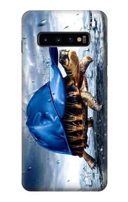 S0084 雨でかめ Turtle in the Rain Samsung Galaxy S10 Plus バックケース、フリップケース・カバー