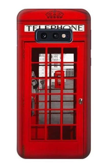 S0058 ロンドン〔イギリス〕の赤い電話ボックス Classic British Red Telephone Box Samsung Galaxy S10e バックケース、フリップケース・カバー