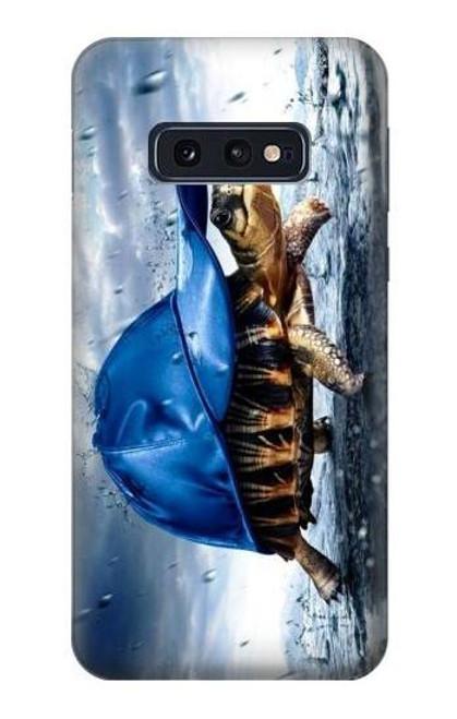 S0084 雨でかめ Turtle in the Rain Samsung Galaxy S10e バックケース、フリップケース・カバー