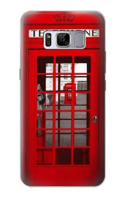 S0058 ロンドン〔イギリス〕の赤い電話ボックス Classic British Red Telephone Box Samsung Galaxy S8 バックケース、フリップケース・カバー