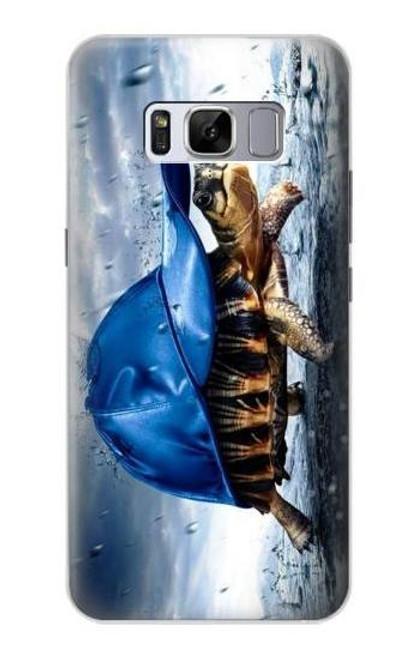 S0084 雨でかめ Turtle in the Rain Samsung Galaxy S8 バックケース、フリップケース・カバー