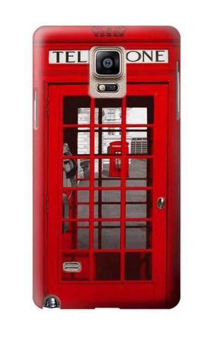 S0058 ロンドン〔イギリス〕の赤い電話ボックス Classic British Red Telephone Box Samsung Galaxy Note 4 バックケース、フリップケース・カバー