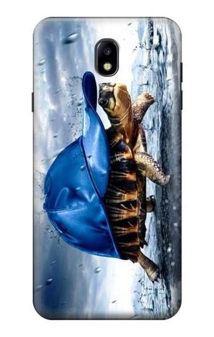 S0084 雨でかめ Turtle in the Rain Samsung Galaxy J7 (2018) バックケース、フリップケース・カバー