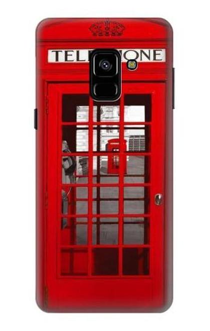 S0058 ロンドン〔イギリス〕の赤い電話ボックス Classic British Red Telephone Box Samsung Galaxy A8 (2018) バックケース、フリップケース・カバー