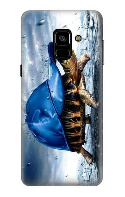S0084 雨でかめ Turtle in the Rain Samsung Galaxy A8 (2018) バックケース、フリップケース・カバー