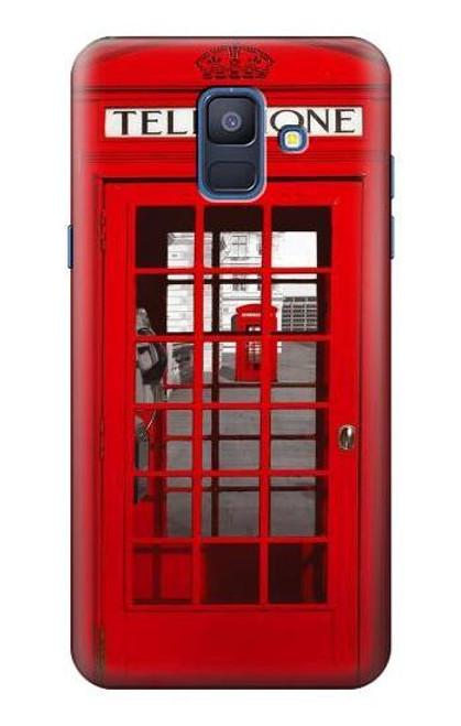 S0058 ロンドン〔イギリス〕の赤い電話ボックス Classic British Red Telephone Box Samsung Galaxy A6 (2018) バックケース、フリップケース・カバー