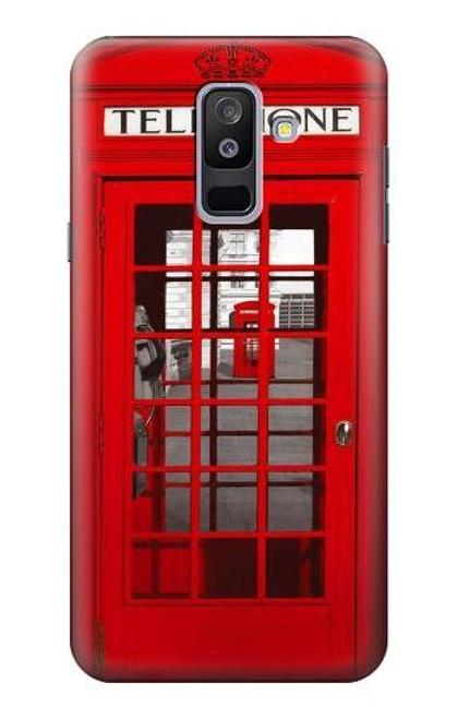 S0058 ロンドン〔イギリス〕の赤い電話ボックス Classic British Red Telephone Box Samsung Galaxy A6+ (2018), J8 Plus 2018, A6 Plus 2018  バックケース、フリップケース・カバー
