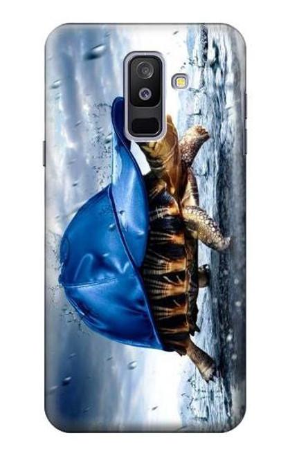 S0084 雨でかめ Turtle in the Rain Samsung Galaxy A6+ (2018), J8 Plus 2018, A6 Plus 2018  バックケース、フリップケース・カバー