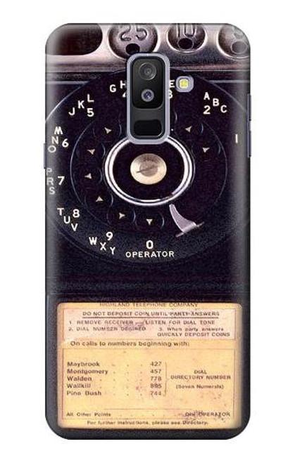 S0086 ヴィンテージ 公衆電話 Payphone Vintage Samsung Galaxy A6+ (2018), J8 Plus 2018, A6 Plus 2018  バックケース、フリップケース・カバー