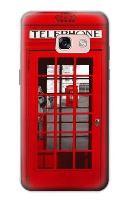 S0058 ロンドン〔イギリス〕の赤い電話ボックス Classic British Red Telephone Box Samsung Galaxy A3 (2017) バックケース、フリップケース・カバー