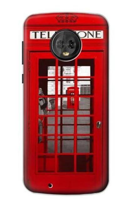 S0058 ロンドン〔イギリス〕の赤い電話ボックス Classic British Red Telephone Box Motorola Moto G6 バックケース、フリップケース・カバー