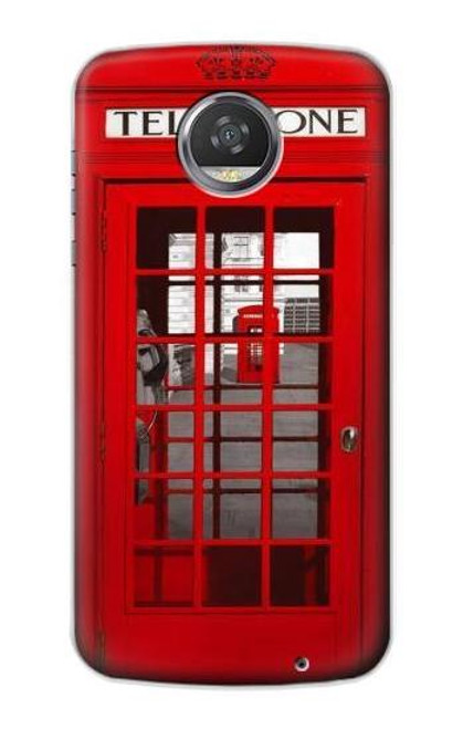S0058 ロンドン〔イギリス〕の赤い電話ボックス Classic British Red Telephone Box Motorola Moto Z2 Play, Z2 Force バックケース、フリップケース・カバー