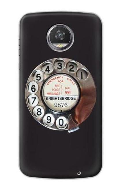 S0059 レトロなダイヤル式の電話ダイヤル Retro Rotary Phone Dial On Motorola Moto Z2 Play, Z2 Force バックケース、フリップケース・カバー