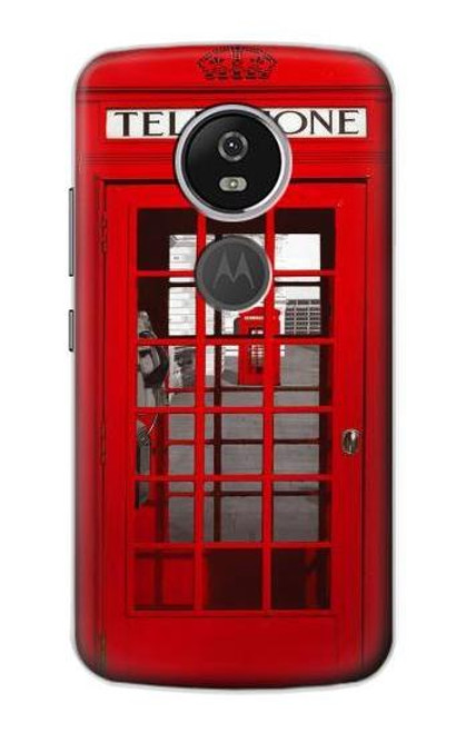 S0058 ロンドン〔イギリス〕の赤い電話ボックス Classic British Red Telephone Box Motorola Moto E5 Plus バックケース、フリップケース・カバー