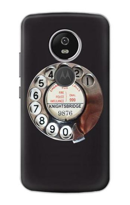 S0059 レトロなダイヤル式の電話ダイヤル Retro Rotary Phone Dial On Motorola Moto E5 Plus バックケース、フリップケース・カバー