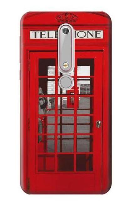 S0058 ロンドン〔イギリス〕の赤い電話ボックス Classic British Red Telephone Box Nokia 6.1, Nokia 6 2018 バックケース、フリップケース・カバー