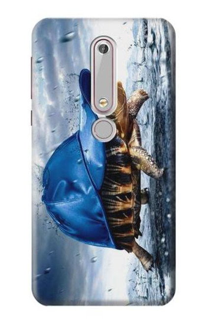 S0084 雨でかめ Turtle in the Rain Nokia 6.1, Nokia 6 2018 バックケース、フリップケース・カバー