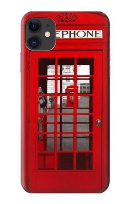S0058 ロンドン〔イギリス〕の赤い電話ボックス Classic British Red Telephone Box iPhone 11 バックケース、フリップケース・カバー