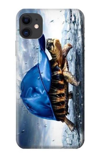 S0084 雨でかめ Turtle in the Rain iPhone 11 バックケース、フリップケース・カバー