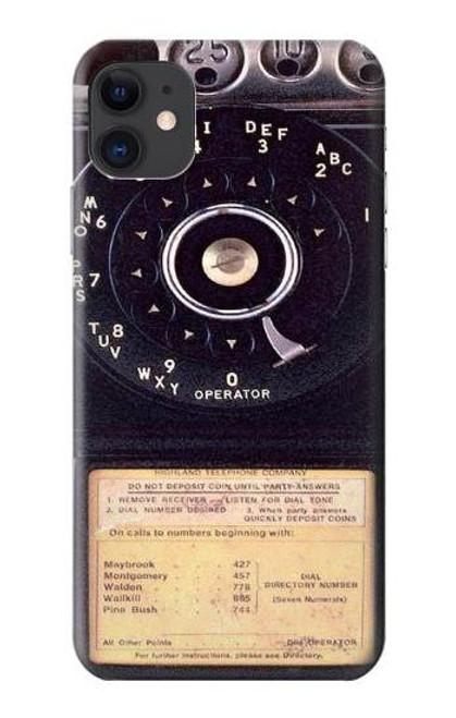S0086 ヴィンテージ 公衆電話 Payphone Vintage iPhone 11 バックケース、フリップケース・カバー
