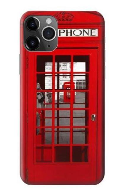 S0058 ロンドン〔イギリス〕の赤い電話ボックス Classic British Red Telephone Box iPhone 11 Pro バックケース、フリップケース・カバー