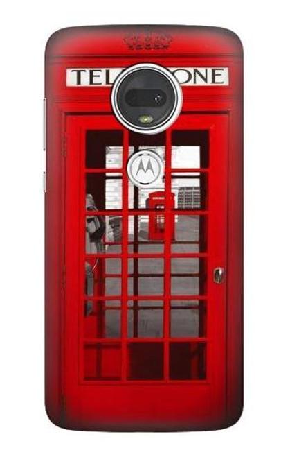 S0058 ロンドン〔イギリス〕の赤い電話ボックス Classic British Red Telephone Box Motorola Moto G7, Moto G7 Plus バックケース、フリップケース・カバー