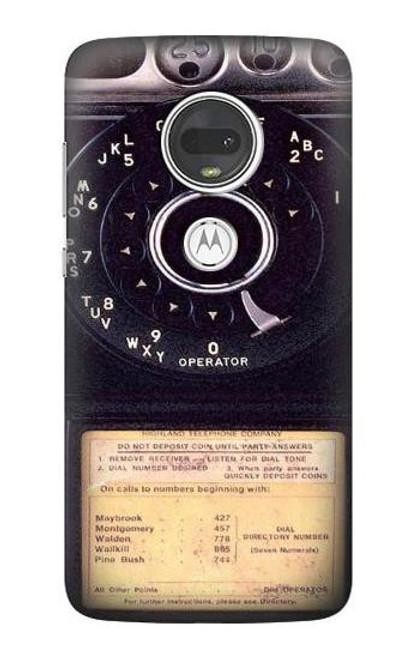 S0086 ヴィンテージ 公衆電話 Payphone Vintage Motorola Moto G7, Moto G7 Plus バックケース、フリップケース・カバー