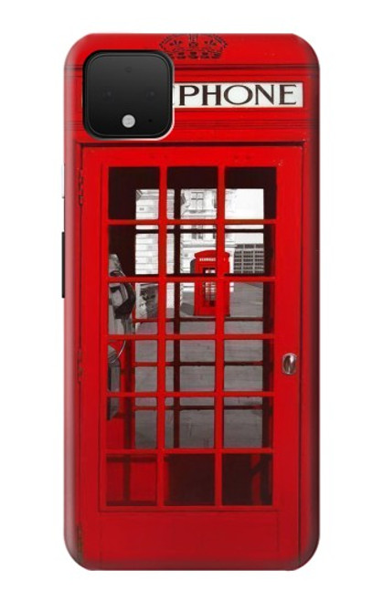 S0058 ロンドン〔イギリス〕の赤い電話ボックス Classic British Red Telephone Box Google Pixel 4 バックケース、フリップケース・カバー