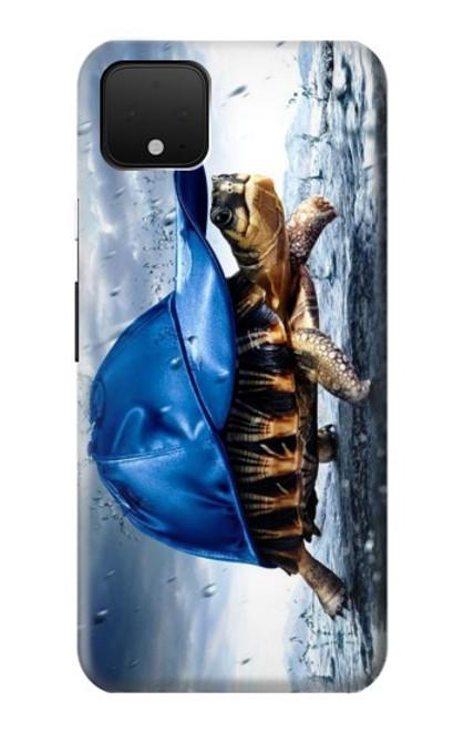 S0084 雨でかめ Turtle in the Rain Google Pixel 4 バックケース、フリップケース・カバー