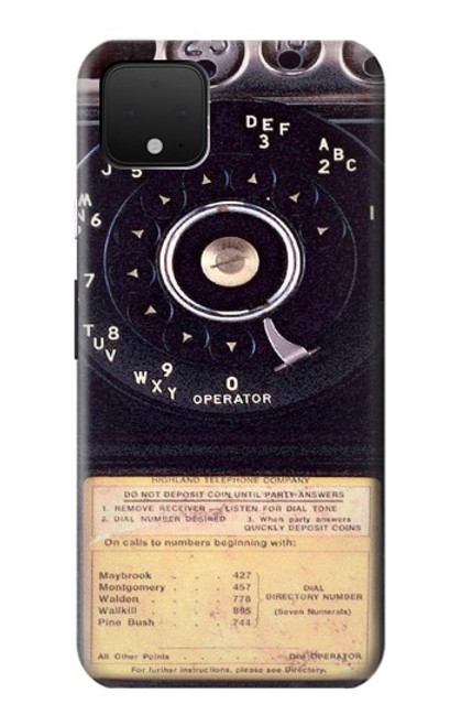 S0086 ヴィンテージ 公衆電話 Payphone Vintage Google Pixel 4 バックケース、フリップケース・カバー