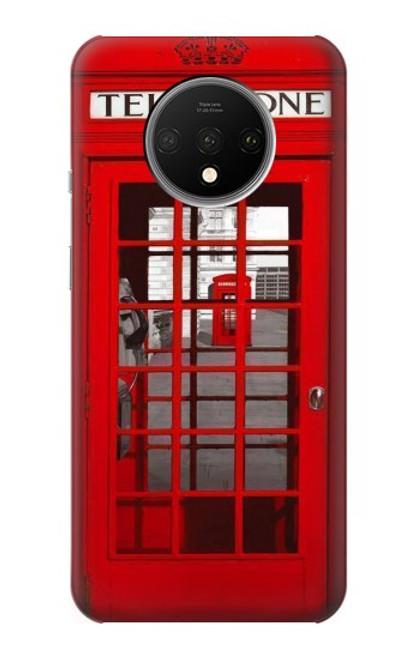 S0058 ロンドン〔イギリス〕の赤い電話ボックス Classic British Red Telephone Box OnePlus 7T バックケース、フリップケース・カバー