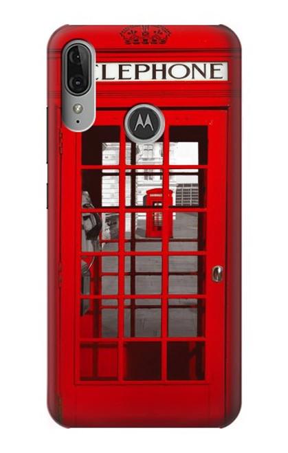 S0058 ロンドン〔イギリス〕の赤い電話ボックス Classic British Red Telephone Box Motorola Moto E6 Plus, Moto E6s バックケース、フリップケース・カバー