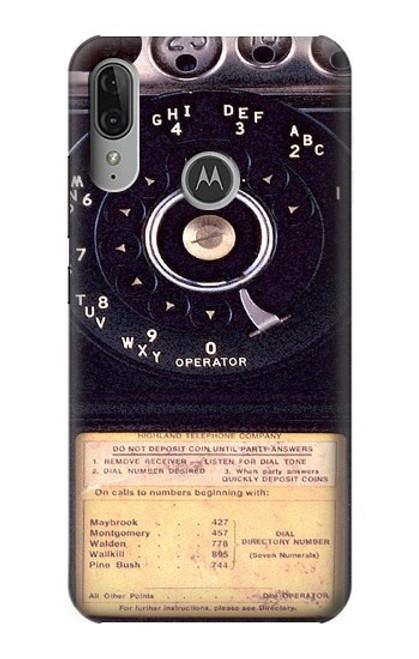 S0086 ヴィンテージ 公衆電話 Payphone Vintage Motorola Moto E6 Plus, Moto E6s バックケース、フリップケース・カバー
