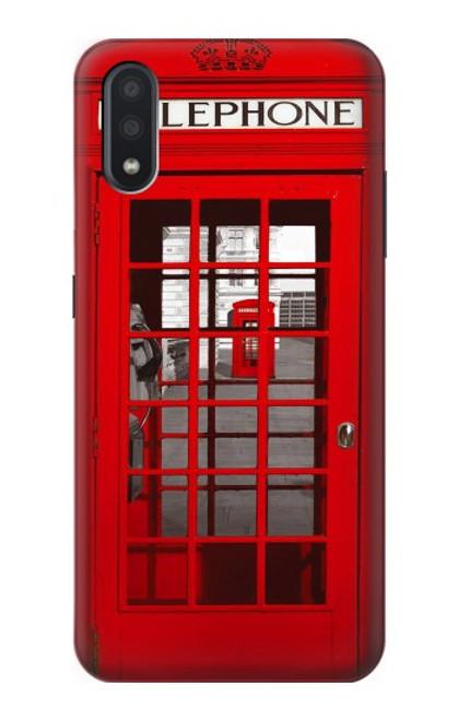 S0058 ロンドン〔イギリス〕の赤い電話ボックス Classic British Red Telephone Box Samsung Galaxy A01 バックケース、フリップケース・カバー