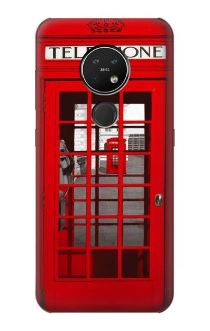 S0058 ロンドン〔イギリス〕の赤い電話ボックス Classic British Red Telephone Box Nokia 7.2 バックケース、フリップケース・カバー