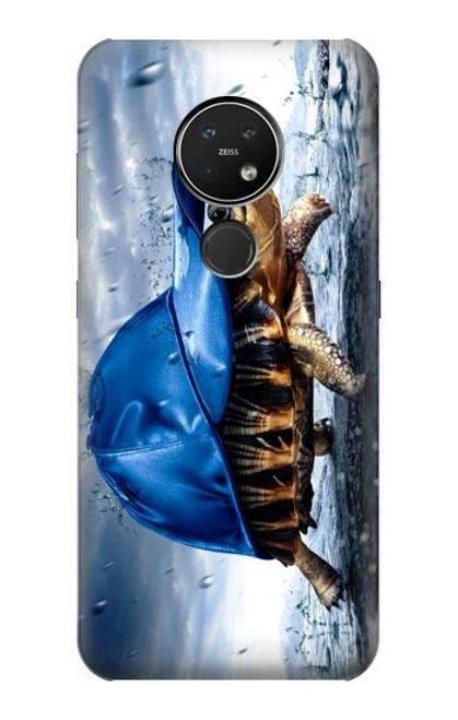 S0084 雨でかめ Turtle in the Rain Nokia 7.2 バックケース、フリップケース・カバー
