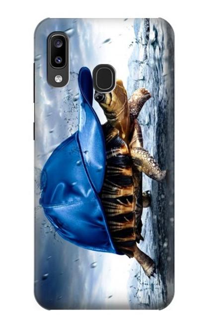 S0084 雨でかめ Turtle in the Rain Samsung Galaxy A20, Galaxy A30 バックケース、フリップケース・カバー