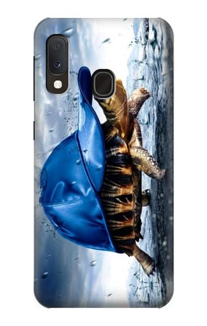 S0084 雨でかめ Turtle in the Rain Samsung Galaxy A20e バックケース、フリップケース・カバー