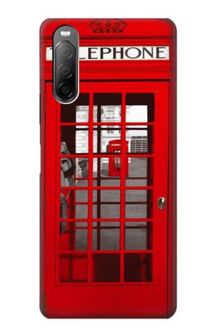 S0058 ロンドン〔イギリス〕の赤い電話ボックス Classic British Red Telephone Box Sony Xperia 10 II バックケース、フリップケース・カバー