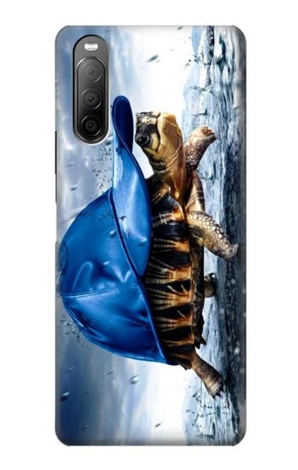 S0084 雨でかめ Turtle in the Rain Sony Xperia 10 II バックケース、フリップケース・カバー